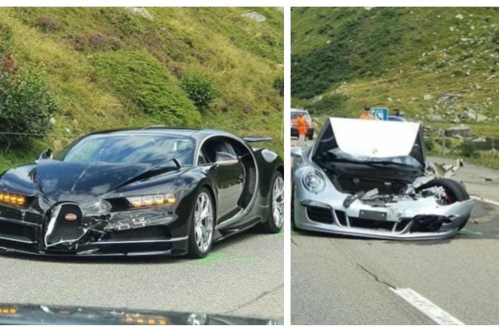 """(Видео) Се судрија """"Бугати"""" и """"Порше"""", - најскапата сообраќајка во Европа тешка 3,5 милиони евра"""