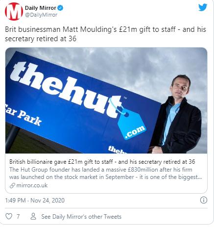 Милијардер ги споделил милионите со вработените, секретарката му се пензионирала на 36. години