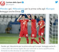 """Светските спортски медиуми за """"кралот"""" Пандев и бајката на Македонија"""