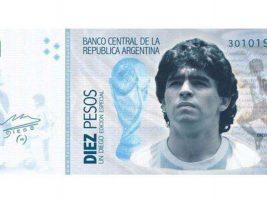 """Марадона и """"Божјата рака"""" на банкнота од 1.000 пезоси"""