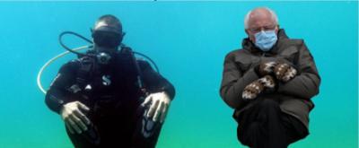 """(Фото) Американскиот сенатор Берни Сандерс """"нурка"""" во Охридското Езеро"""