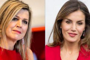 (Фото) Кралиците на Шпанија и Холандија елегантни во ист црвен фустан