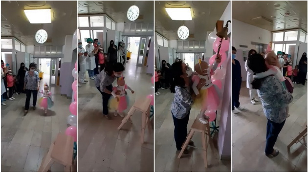 (Видео) Ана ги победи ракот и короната, и заѕвони на победничкото ѕвонче во Детската клиника