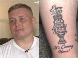 (Видео) Пред финалето си ја истетовирал ногата и напишал Англија шампион