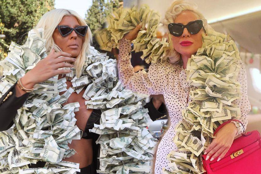 (Фото) Лејди Гага ме копира, се фали Карлеуша, откако светската пејачката облече стар фустан со лажни долари
